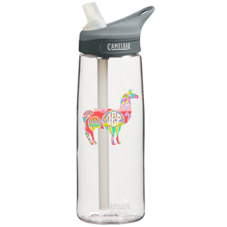 monogrammed llama decal on water bottle