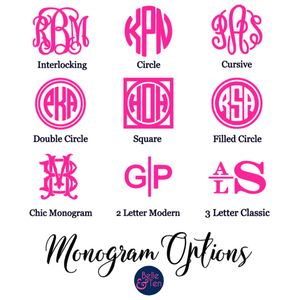 Neon Pink Monogram Decal