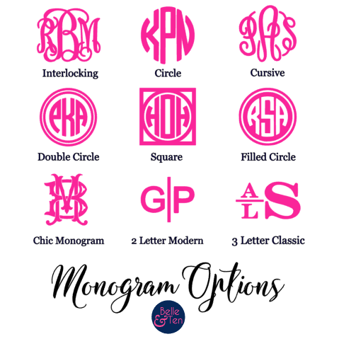 Monogram style options by Belle and Ten