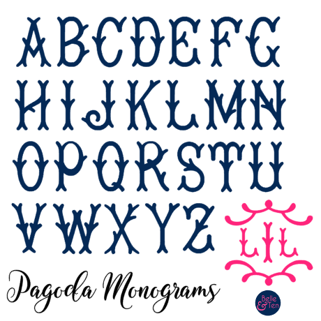Belle & Ten pagoda monogram alphabet chart