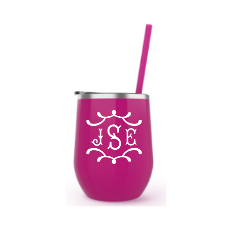 Belle & Ten pagoda monogram on wine tumbler