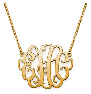 "1"" Interlocking Monogram Necklace in Gold, Rose Gold or Sterling Silver"