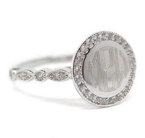 Monogrammed Round Ring with CZ Band