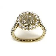 Monogrammed Round Ring with Pearls