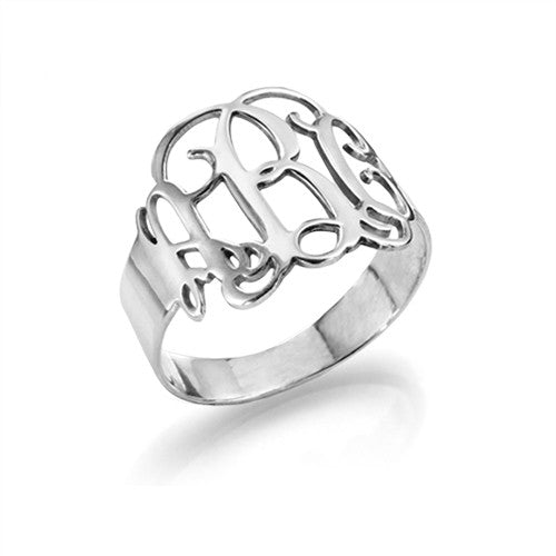 sterling silver interlocking monogram ring