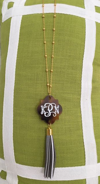 Monogrammed Tortoise Shell and Tassel Necklace