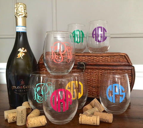 Monogrammed Stemless Wine Glasses