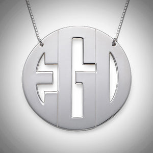 Extra large sterling sliver circle monogram necklace