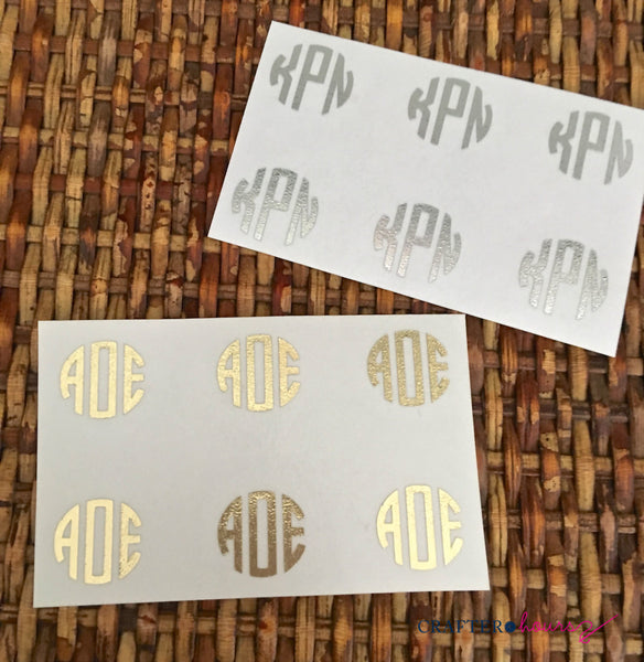 "Gold, Rose Gold or Silver Foil Monogram Minis (1/2"" circle decals)"