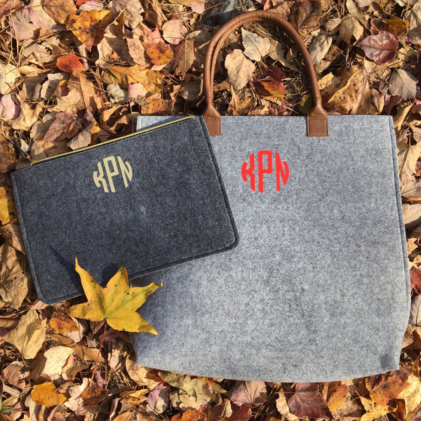 Monogrammed Wool Felt Tote or Clutch