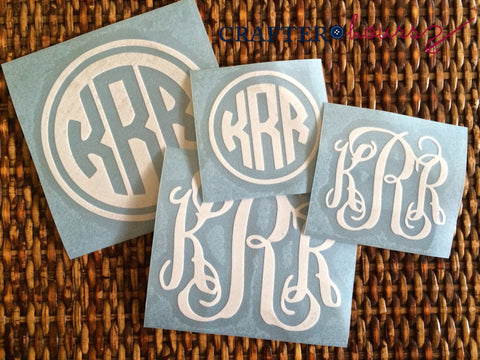 Set of 4 Monogram Decals