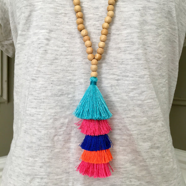 Silk Tassel and Wood Mala Beads Necklace
