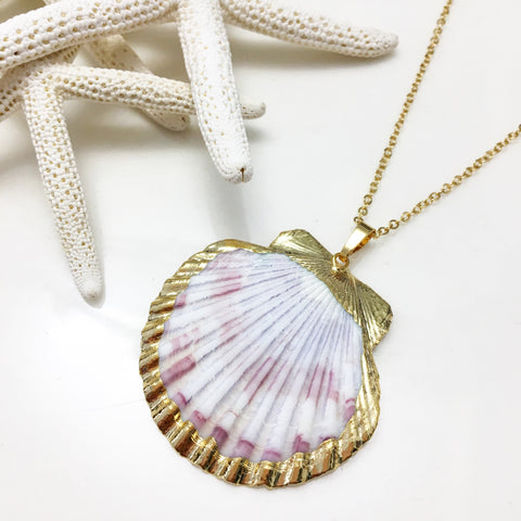 24K Gold Dipped Scallop Shell Necklace