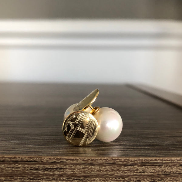 Gold and Pearl Peek-a-boo Earrings