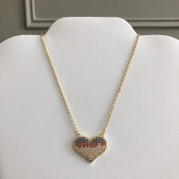 Piece of My Heart Pave Crystal Necklace