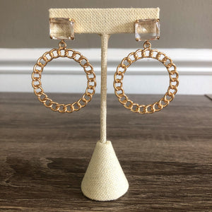 Crystal Chain Hoops