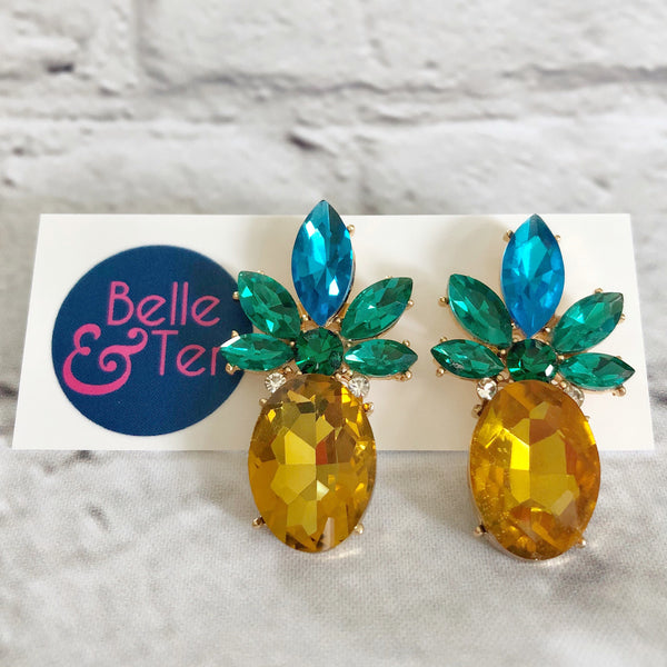 Rhinestone Pineapple Earrings