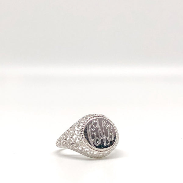 Monogrammed Silver Filigree Ring