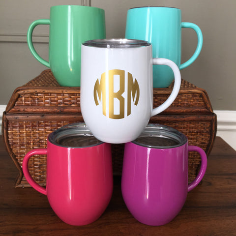 Monogrammed Stainless Steel Coffee Mug