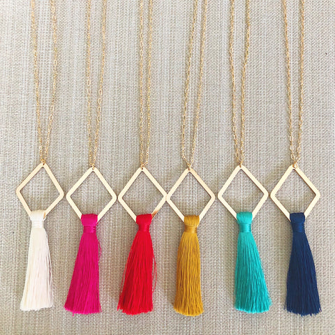Gold Diamond and Tassel Necklace