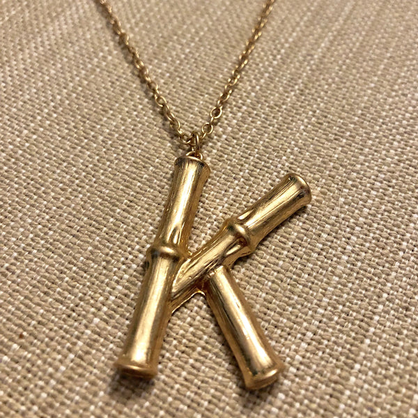 Long Bamboo Initial Necklace
