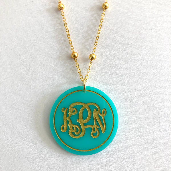 Gemma Monogrammed Acrylic Disc Necklace
