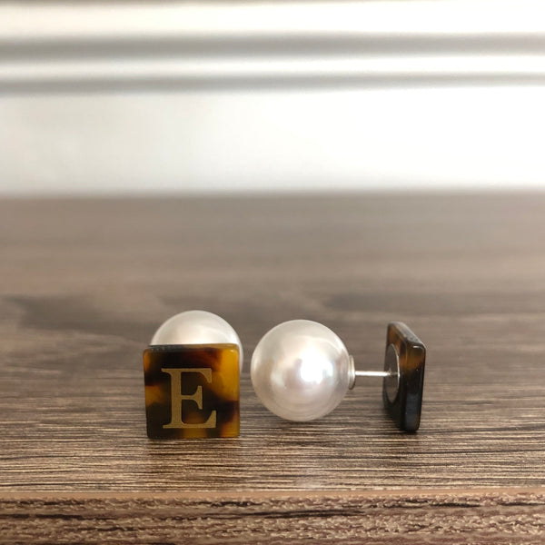 Tortoiseshell and Pearl Peek-A-Boo Earrings