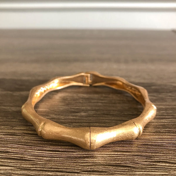 Worn Gold Bamboo Bangle