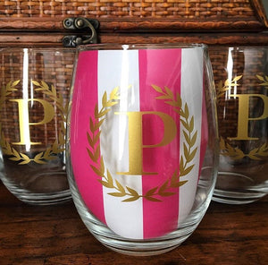 wine glasses with laurel monogram in block print