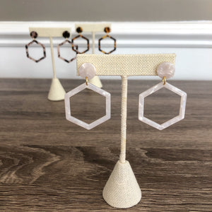 Tortoiseshell Hexagon Earrings