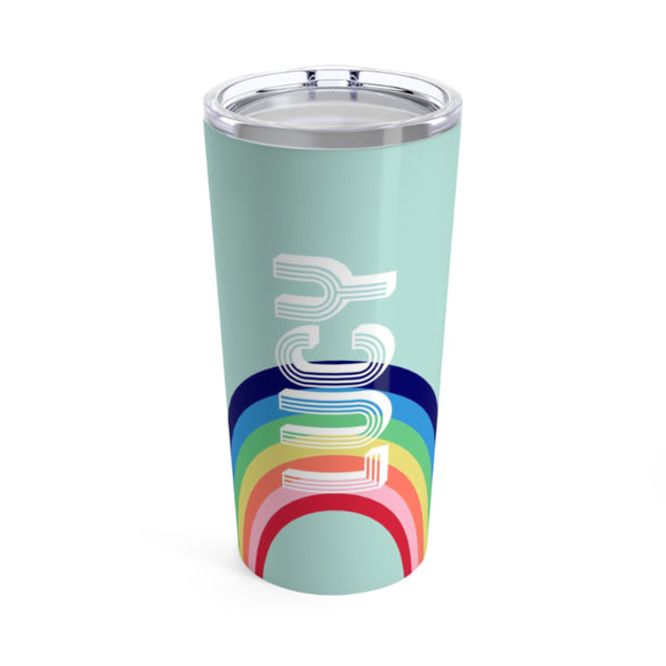 Large personalized rainbow stainless steel tumbler from Belle & Ten