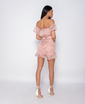 Floral Frill Hem Bardot Mini Dress