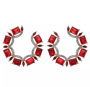 'Cristina' Round Earrings - Red