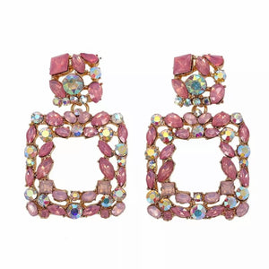 "Pink - ""Venice"" Rhinestone Earrings"