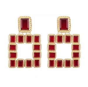 Square statement earring - Red