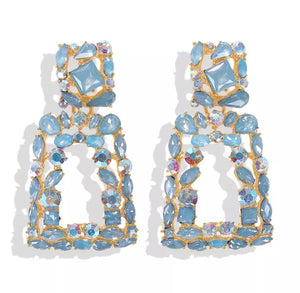 "Blue - ""Milan"" Rhinestone Earrings"