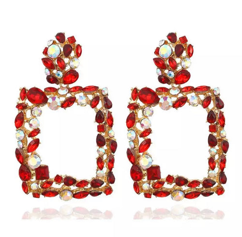 "Red ""Paris"" Door-Knocker Rhinestones Earrings"