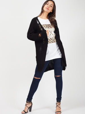 LUXE Slogan Leopard Print T-Shirt - White