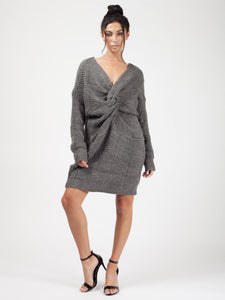 Twist Front Knitted Jumper - Charcoal