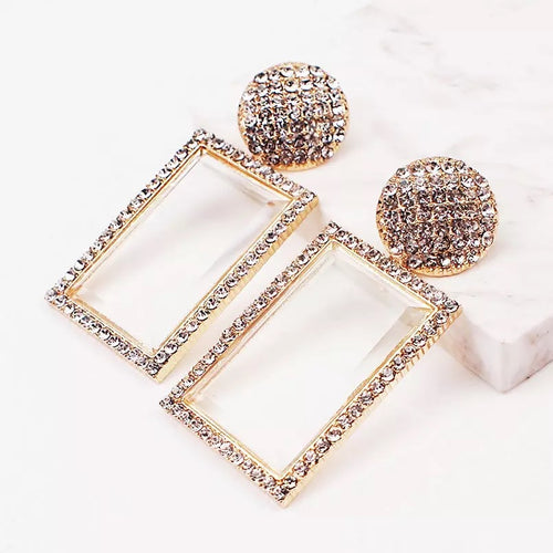 Gold Rhinestone Glass Earrings