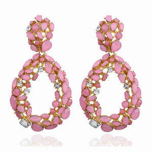 "Pink - ""Tara"" Teardrop Rhinestone Earrings"