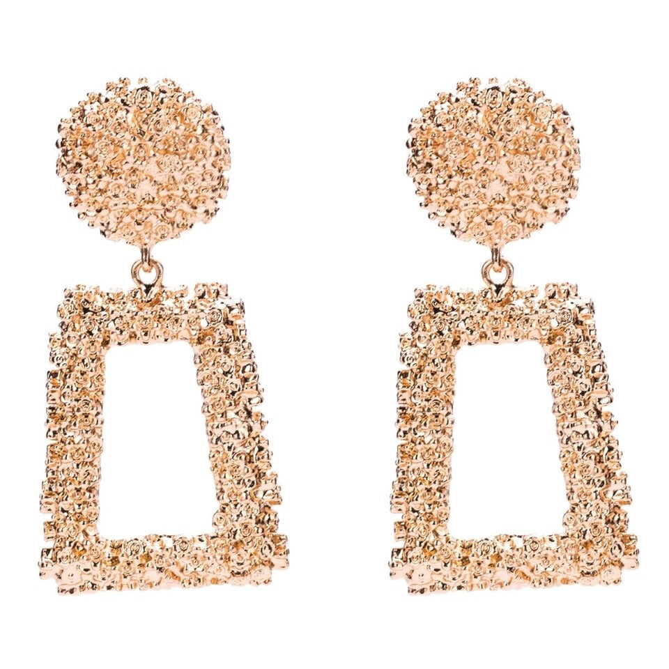 Sophie - Square textured statement earring