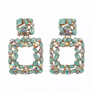 "Green - ""Venice"" Rhinestone Earrings"