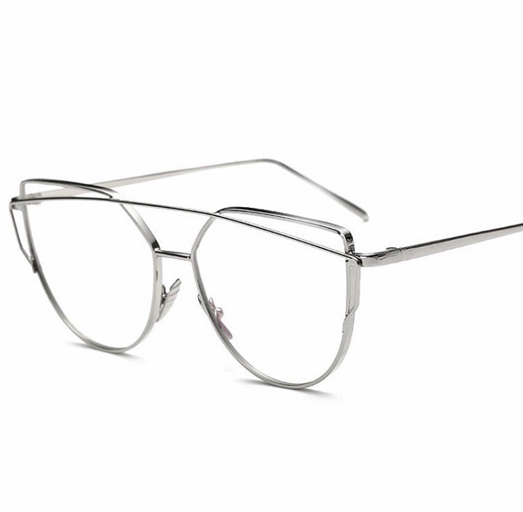 Clear Stacy Glasses - Silver - dumiyah