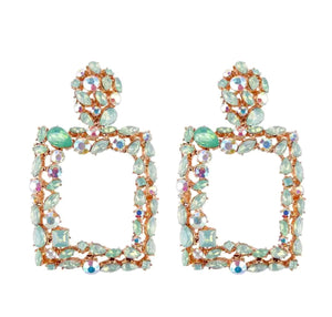 "Green - ""Paris"" Door-Knocker Diamanté Earrings"