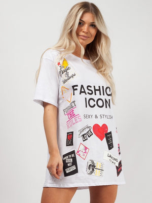 Oversized Fashion Icon Printed T-Shirt - White