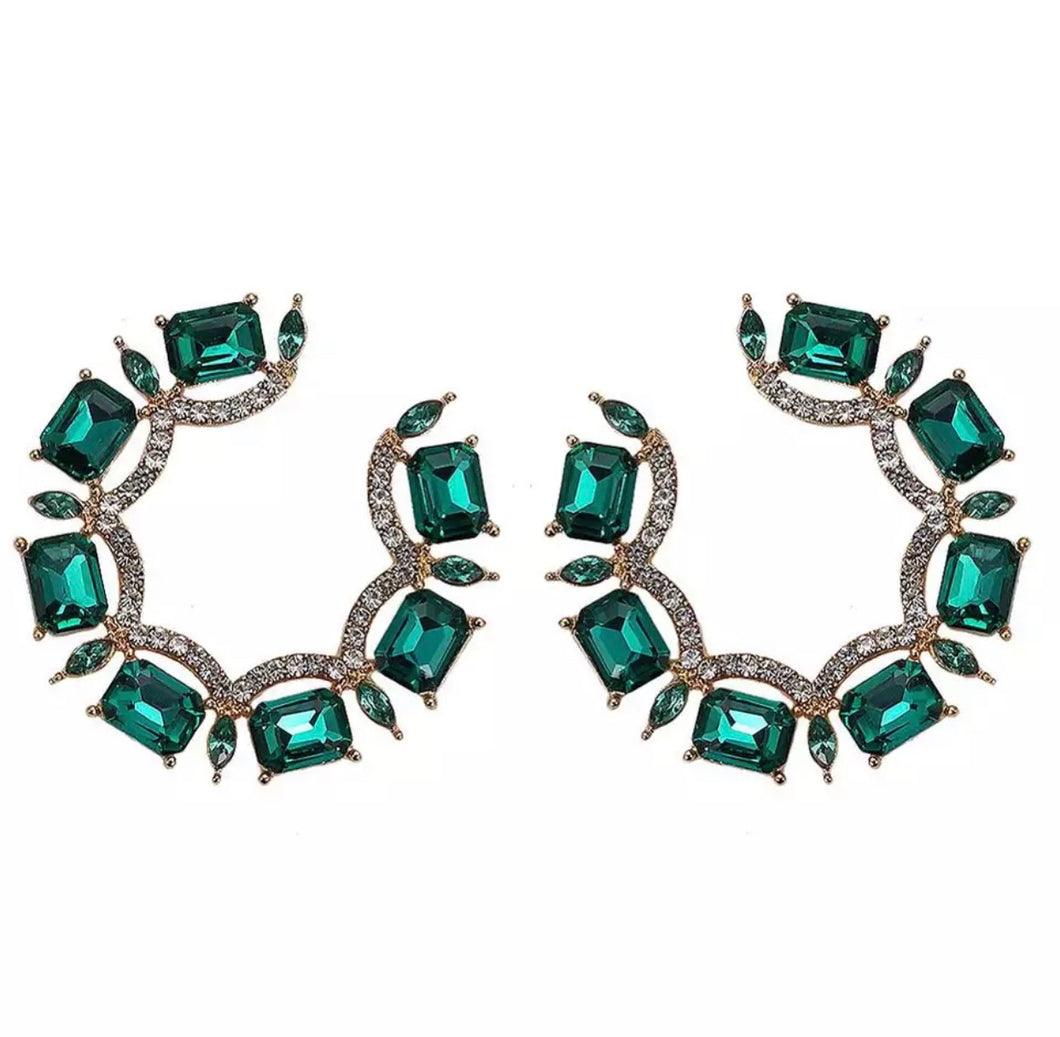 'Cristina' Round Earrings - Green