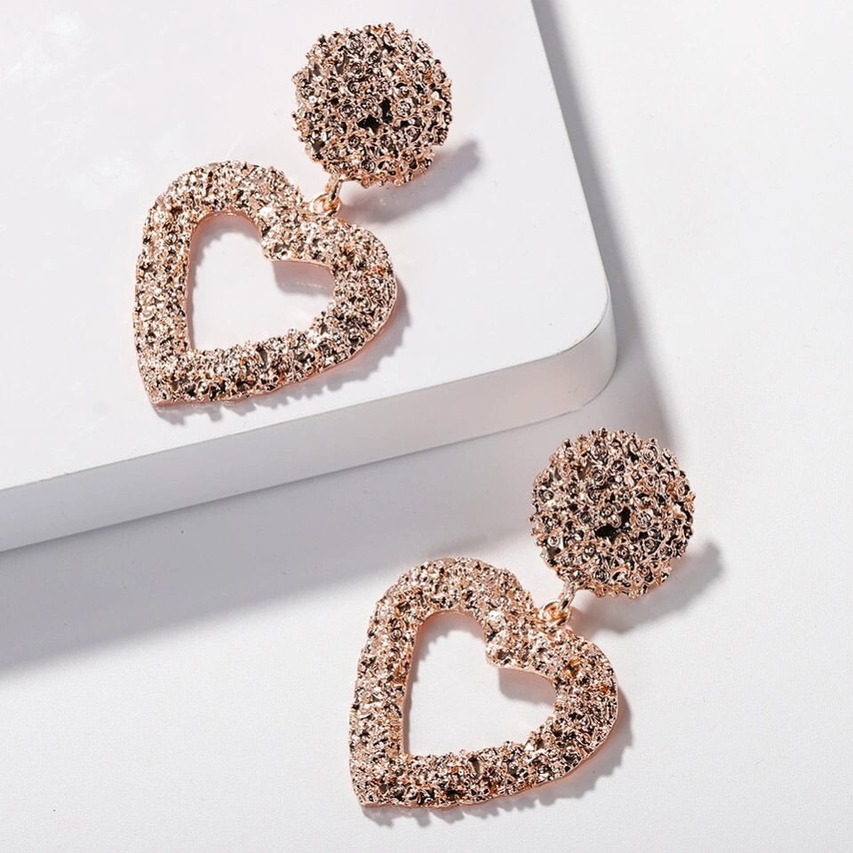 Serena - Heart Statement Earrings - 3 colours