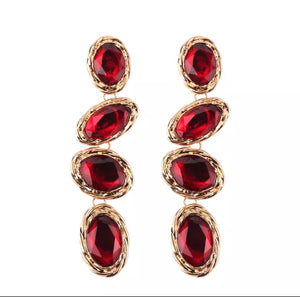 Eliza- Red Drop Earrings