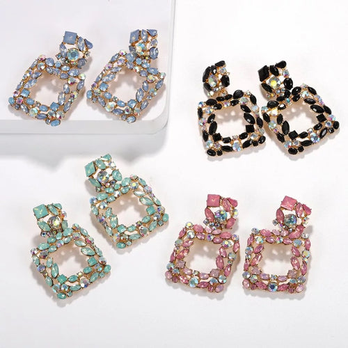 Square statement earrings rhinestones pink blue green black
